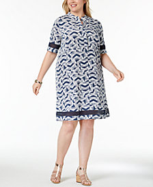 Alfani Plus Size Printed Lace-Trim Shirtdress, Created for Macy's