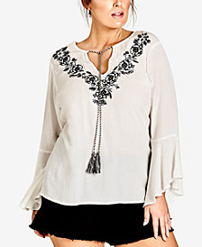 City Chic Trendy Plus Size Embroidered Top