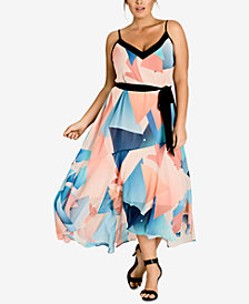 City Chic Trendy Plus Size Printed Belted Maxi Dress