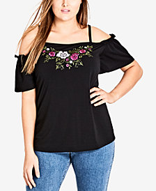 City Chic Trendy Plus Size Cold-Shoulder Embroidered Top