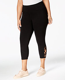 Calvin Klein Performance Plus Size High-Rise Macramé Cropped Leggings