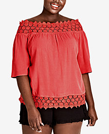 City Chic Trendy Plus Size Grace Embroidered Off-The-Shoulder Top