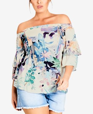 Trendy Plus Size Printed Off-The-Shoulder Top, Soft Jungle