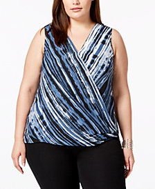 Alfani Plus Size Surplice Top, Created for Macy's