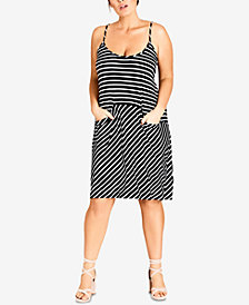 City Chic Trendy Plus Size Striped Knit Dress