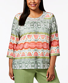 Alfred Dunner Plus Size Embellished Ikat-Print Top