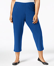 Alfred Dunner Plus Size Royal Street Cropped Pull-On Pants