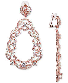 Nina Cubic Zirconia Scroll Motif Clip-On Drop Earrings