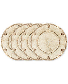 "Q Squared	Rustica Bone White 4-Pc. Melamine 10.5"" Dinner Plate Set"