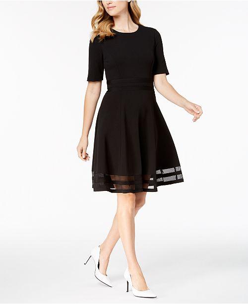 5175987dc35 Calvin Klein Elbow-Sleeve Illusion-Detail Dress   Reviews - Dresses ...