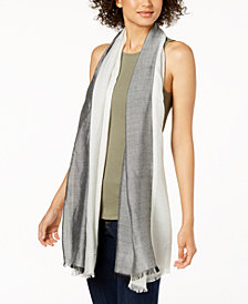 Calvin Klein Chambray Colorblocked Cover-Up & Scarf