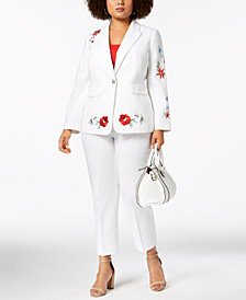 Nine West Plus Size Embroidered Blazer & Straight-Leg Pants