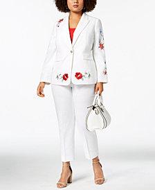 Nine West Plus Size Embroidered Blazer & Straight-Leg Pants