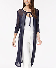 Anne Klein Tie-Neck Mesh Duster Cardigan