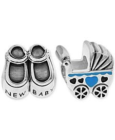 2-Pc. Set New Baby Bead Charms in Sterling Silver & Gold-Plate