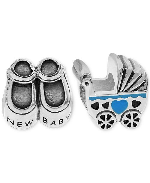 Rhona Sutton 2-Pc. Set New Baby Bead Charms in Sterling Silver & Gold-Plate