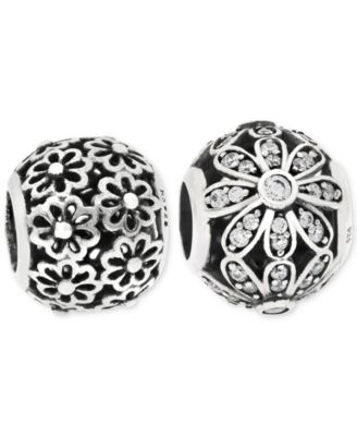 2-Pc. Cubic Zirconia Daisy Bead Charms in Sterling Silver