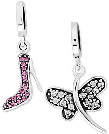 Rhona Sutton 2-Pc. Set Cubic Zirconia High Heel & Dragon Fly Drop Charms in Sterling Silver