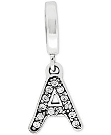 Rhona Sutton Cubic Zirconia Inital Charm in Sterling Silver