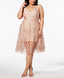 XSCAPE Plus Size Embroidered Mesh Fit & Flare Dress