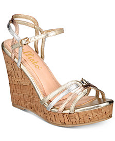 Callisto Brush Strappy Platform Wedge Sandals