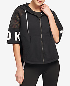 DKNY Sport Zip Cropped Poncho Hoodie, Created for Macy's