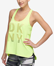 DKNY Sport Perforated-Logo Racerback Tank Top, Created for Macy's