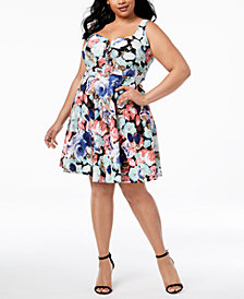 Soprano Trendy Plus Size Printed Split-Neck Fit & Flare Dress