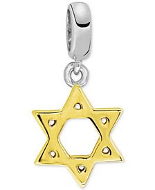 Two-Tone Star of David Bead Charm in Sterling Silver