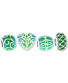 Rhona Sutton 4-Pc. Set Enamel Decorative Bead Charms in Sterling Silver