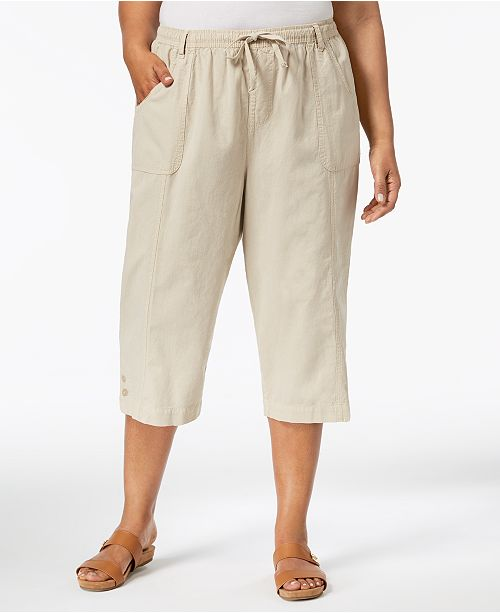 7dbb762c80b80 Karen Scott Plus Size Cotton Capri Pants