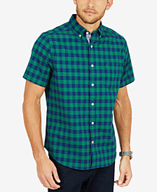 Nautica Men's Classic-Fit Stretch Plaid Oxford Shirt