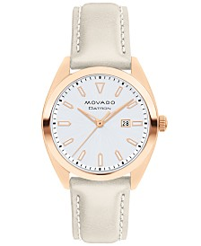Movado Women's Swiss Heritage Series Datron Gray Putty Leather Strap Watch 31mm