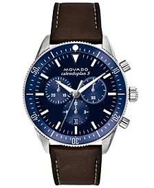 Men's Swiss Chronograph Heritage Series Calendoplan Chocolate Leather Strap Watch 42mm