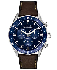 Movado Men's Swiss Chronograph Heritage Series Calendoplan Chocolate Leather Strap Watch 42mm