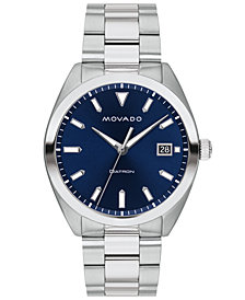 Movado Men's Swiss Heritage Series Datron Stainless Steel Bracelet Watch 39mm