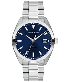 Movado Men's Swiss Heritage Series Datron Stainless Steel Bracelet Watch 39mm