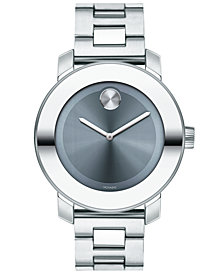 Movado Women's Swiss BOLD Stainless Steel Bracelet Watch 36mm, Created for Macy's