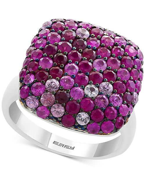 EFFY Collection EFFY® Ruby (1-7/8 ct. t.w.) & Pink Sapphire (1-1/3 ct. t.w.) Heart Ring in Sterling Silver