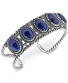 Lapis Lazuli Decorative Cuff Bracelet in Sterling Silver