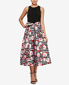 SL Fashions Contrast Fit & Flare Midi Dress