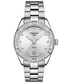 Women's Swiss PR 100 Sport Chic T-Classic Diamond-Accent Gray Stainless Steel Bracelet Watch 36mm