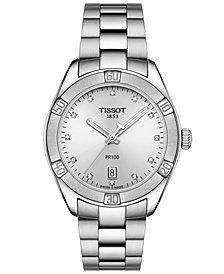Tissot Women's Swiss PR 100 Sport Chic T-Classic Diamond-Accent Gray Stainless Steel Bracelet Watch 36mm