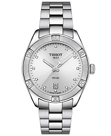 Tissot Women's Swiss PR 100 Sport Chic T-Classic Diamond-Accent Gray Stainless Steel Bracelet Watch 36mm