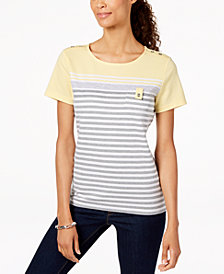 Karen Scott Petite Colorblocked Striped Top, Created for Macy's