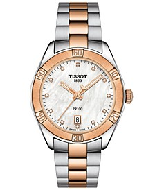 Women's Swiss PR 100 Sport Chic T-Classic Diamond-Accent Two-Tone Stainless Steel Bracelet Watch 36mm