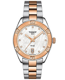 Tissot Women's Swiss PR 100 Sport Chic T-Classic Diamond-Accent Two-Tone Stainless Steel Bracelet Watch 36mm