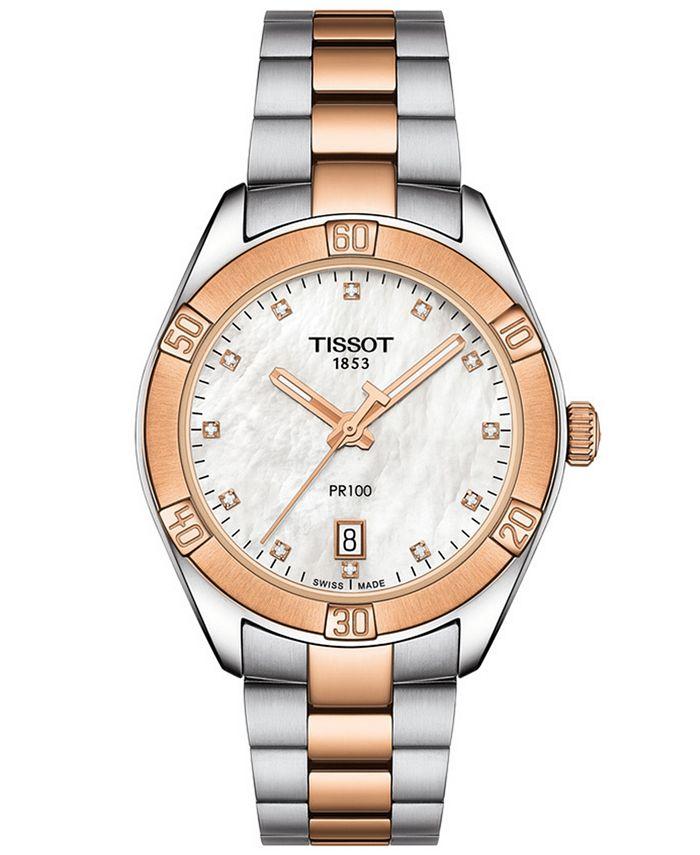 Tissot - Women's Swiss PR 100 Sport Chic T-Classic Diamond-Accent Two-Tone Stainless Steel Bracelet Watch 36mm