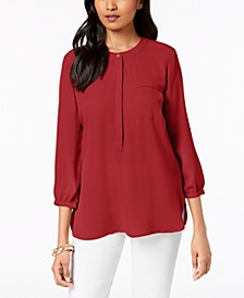 Petite Pleated Back Button Blouse, Created For Macy's