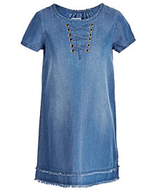 Epic Threads Toddler Girls Lace-Up Denim Dress Created for Macy's